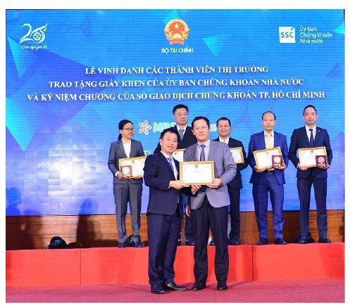 MBS được vinh danh tại lễ kỷ niệm 20 năm hoạt động TTCK Việt Nam và Sở Giao dịch Chứng Khoán TP. HCM