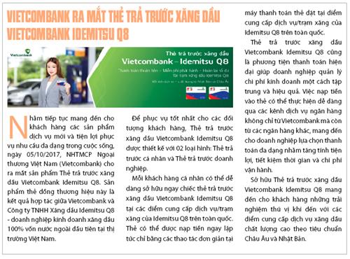 Vietcombank ra mắt thẻ trả trước xăng dầu Vietcombank Idemitsu Q8