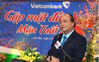 Thủ tướng Chính phủ chúc tết tại Vietcombank nhân dịp đầu xuân Mậu Tuất 2018