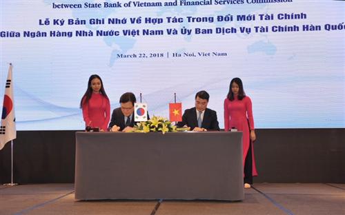 Ngân hàng Nhà nước Việt Nam và Ủy ban Dịch vụ Tài chính Hàn Quốc ký kết Bản ghi nhớ về hợp tác trong đổi mới tài chính