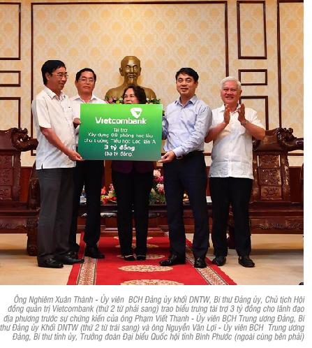 Vietcombank tài trợ 3 tỷ đồng xây dựng 08 phòng học lầu cho trường Tiểu học Lộc Tấn A, huyện Lộc Ninh, tỉnh Bình Phước