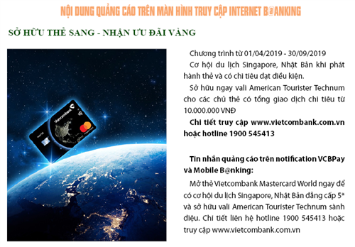 Khuyến mãi hấp dẫn nhân dịp ra mắt thẻ Vietcombank Mastercard Word