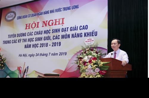 Công đoàn Cơ quan NHNN Trung ương tuyên dương các cháu đạt giải cao trong các kỳ thi năm học 2018 - 2019