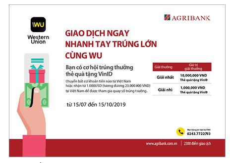 Cùng Agribank giao dịch ngay - nhanh tay trúng lớn cùng WU