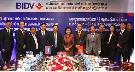 Phó Thủ tướng Chính phủ Hoàng gia Campuchia Men Sam An thăm và làm việc tại BIDV