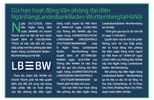 Gia hạn hoạt động Văn phòng đại diện Ngân hàng Landesbank Baden - Wurttemberg tại Hà Nội